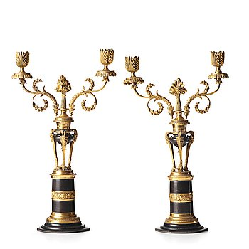 108. A pair of North European two-light candelabra, circa 1800.