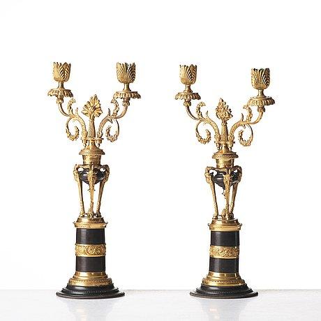 A pair of north european two-light candelabra, circa 1800.