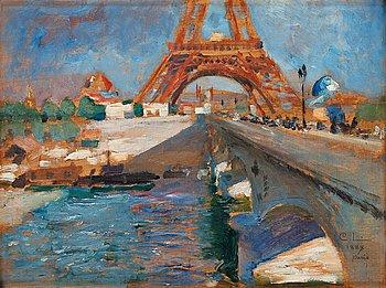 "502. Carl Larsson, ""Eiffeltornet under byggnad"" (The Eiffel tower under construction)."