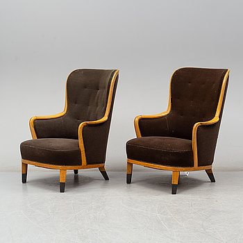 CARL MALMSTEN, a pair of mid 20th century easy chairs.