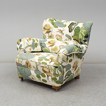 a 1940's armchair in GP & J Baker 'Water lily'.