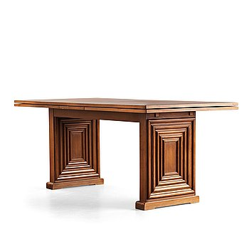 Oscar Nilsson, attributed to, a stained beech dining table, probably executed at Isidor Hörlin AB, Stockholm, 1930-40's.
