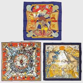 """HERMÈS, 3 scarves, """"Chasse Au Bois"""", """"Art des steppes"""" & """"Kachinas""""."""