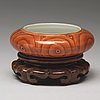 A 'faux bois' brush washer, qing dynasty with qianlong seal mark in gold.