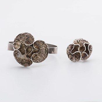 RING och ARMRING Theresa Horslev 1974 sterling silver, 56,3 g.