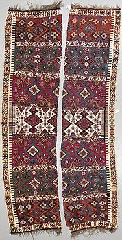 AN ANTIQUE ANATOLIAN KILIM, around 363-376 x 87-91 and 355 -368 x 81-87 cm.