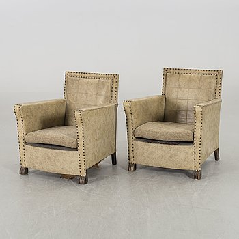 A PAIR OF EASY CHAIRS 1930'S.