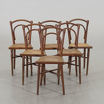 A set of six Thonet chairs early 1900's.