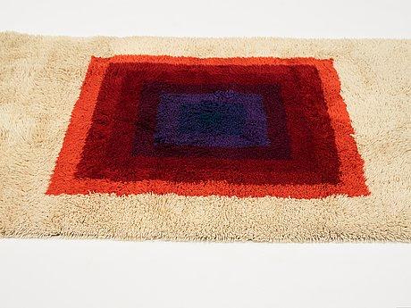 "Verner panton, a carpet, ""square, multi colour"", machine made pile, ca 199,5 x 137 cm, designed by verner panton."