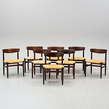 """BØRGE MOGENSEN, stolar, 8 stycken, """"Öresund"""", Karl Andersson & Söner, 1900-talets andra hälft."""