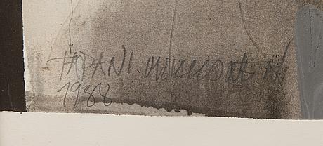 Tapani mikkonen, mixed media, signeerattu ja päivätty 1988.