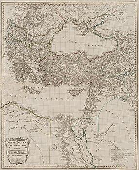 MAP, Orbis Romani Pars Orientalis 1782, copper engraving, J.B.B. D'Anville.