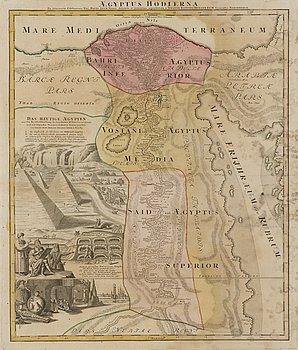 MAP, hand-coloured copper engraving, Johann Baptist Homann, 18th century.