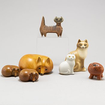 LISA LARSON, seven stoneware figurines, Gustavsberg.