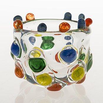 TIINA NORDSTRÖM, a 'Candy bowl' art glass signed Tiina Nordström 1994, Nuutajärvi.