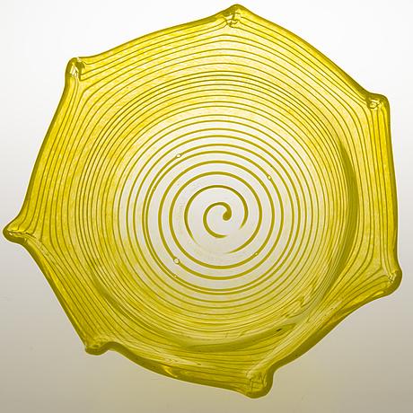 Tiina nordstrÖm, a 'sun stripe' art glass signed tiina nordström nuutajärvi 1996