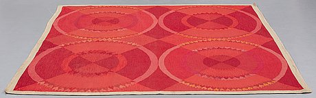 Ingrid dessau, matta, rölakan, ca 212 x 202 cm, signerad mlh id (malmöhus läns hemslöjd, ingrid dessau).