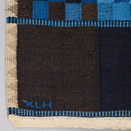Ingrid dessau, matto, flat weave, ca 269 x 175 cm, signerad klh id (kristianstad läns hemslöjd, ingrid dessau).
