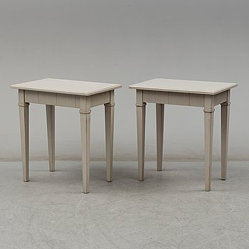 A pair of painted gustavians style lamp tables, around year 2000.