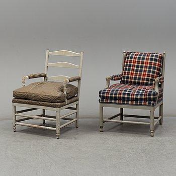 FÅTÖLJER, två stycken, 1900-talets andra hälft.