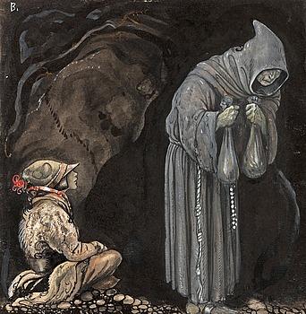 """11. John Bauer, """"Nilas offer, Julbocken (III)""""."""