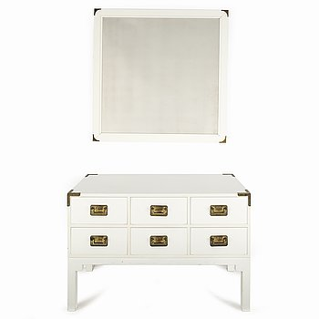 A mirror and chest of drawers from NK Inredning, second half of the 20th Century.