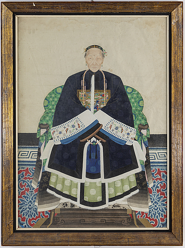 An ancestral portrait, watercolor and ink on paper, china, first half of the 20th century