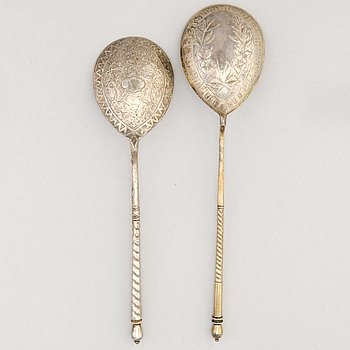 TWO SPOONS, silver, Moscow, 1873 and ca 1900.