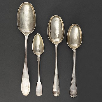 Four serving spoons and totally nine tablespoons, silver,  18th and 20th Century.