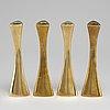 Four brass candle sticks by karl erik ytterberg, 1960's