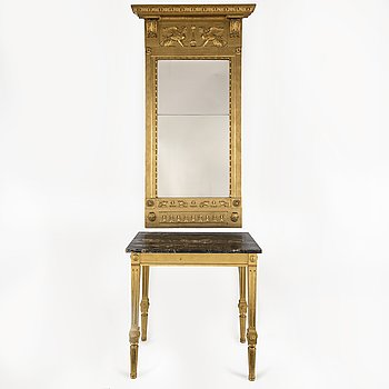 An early 19th Century Empire mirror by Johan Martin Berg with a later console table.