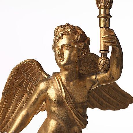 Kandelabrar, ett par, för tre ljus, frankrike, 1800-talets början, empire.