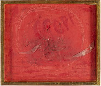 EDDIE FIGGE, oil and collage on canvas, signed and dated 1969.