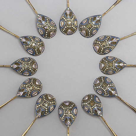 A set of twelve fabergé silver-gilt and cloisonné enamel tea-spoons small, work master fedor rückert, moscow 1908-1917.
