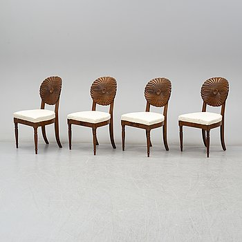 A set of four 19th century chairs, probably Vienna.