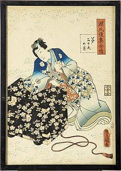 UTAGAWA KUNISADA, (1786–1864), two color woodblock prints. Japan, from 'Lingering Sentiments', 19th century.