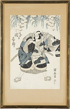 UTAGAWA KUNIYASU (1794-1832), after, three color woodblock prints, Japan, 19th century,