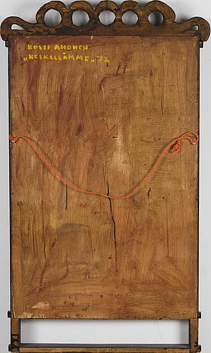 Kosti ahonen, trärelief, signerad och daterad -72.