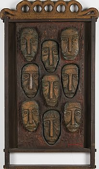 KOSTI AHONEN, wood relief, signed and dated -72.