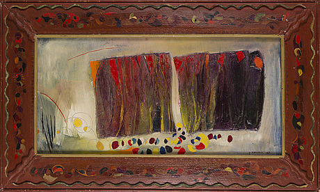 Kosti ahonen, collage, oil on board, signed and dated  67