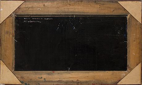 Kosti ahonen, kollage, olja på pannå, signerad och daterad  67