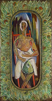 KOSTI AHONEN, oil and collage on board, painted wood relief, signed and dated -67.