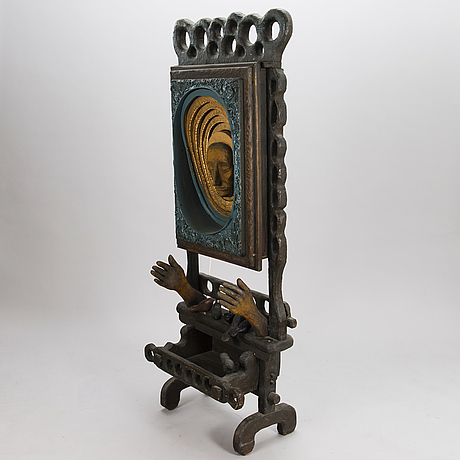 Kosti ahonen, sculpture, wood and mixed media, signed and dated  72