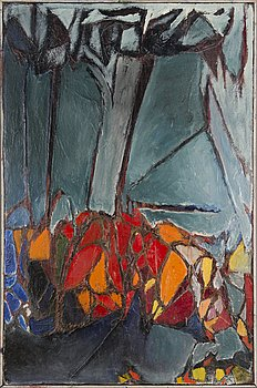 KOSTI AHONEN, collage, oil on canvas, signed.
