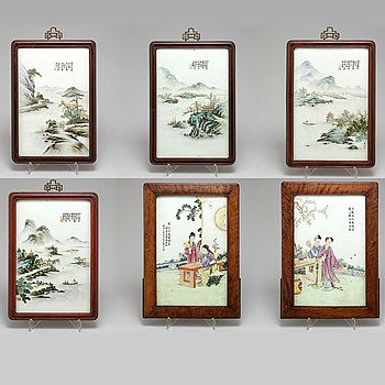 PLAKETTER, sex stycken, porslin. Kina, 1900-tal.