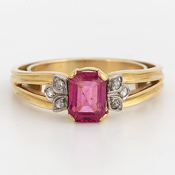 A W.A Bolin spinel and diamond ring.