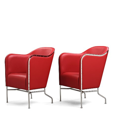 """Mats theselius, a pair of """"star"""" easy chairs for källemo, sweden post 2009."""