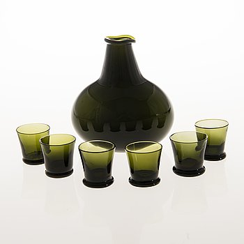 KAJ FRANCK, Six Tupa Glasses with a Carafe by Iittala 1948-54.