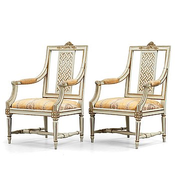 5. A pair of Gustavian late 18th century armchairs by Erik Öhrmark (master in Stockholm 1777-1813).
