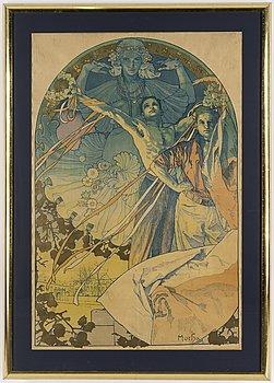 """ALPHONSE MUCHA, affisch, """"Slavnostní hra na vltave"""", 1925."""